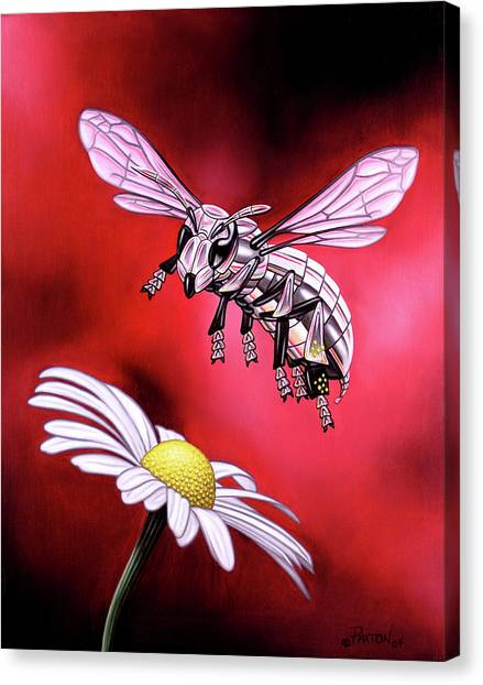 Canvas Print featuring the painting Attack Of The Silver Bee by Paxton Mobley