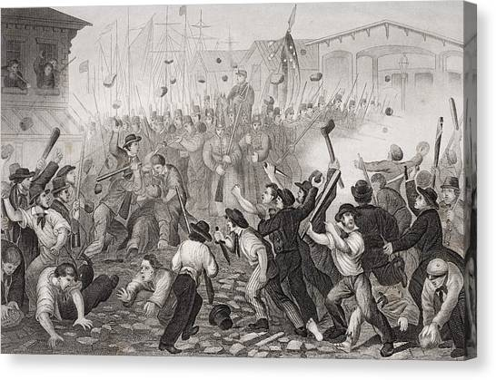 South Baltimore Canvas Print - Attack On The Massachusetts 6th At by Vintage Design Pics