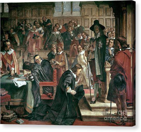 Speakers Canvas Print - Attempted Arrest Of 5 Members Of The House Of Commons By Charles I by Charles West Cope