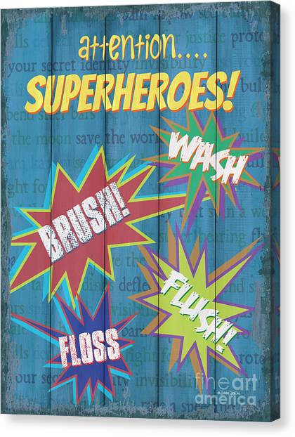 Costume Canvas Print - Attention Superheroes by Debbie DeWitt