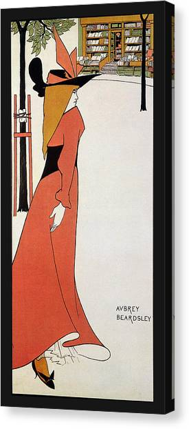 Aubrey Beardsley - Girl In Red Gown - Vintage Advertising Poster Canvas Print