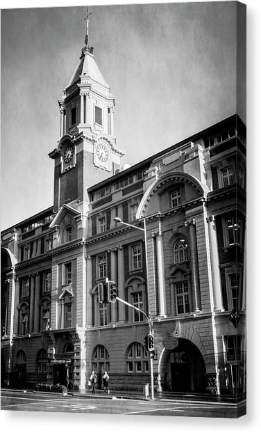 Auckland nz canvas print auckland new zealand ferry building bw by joan carroll