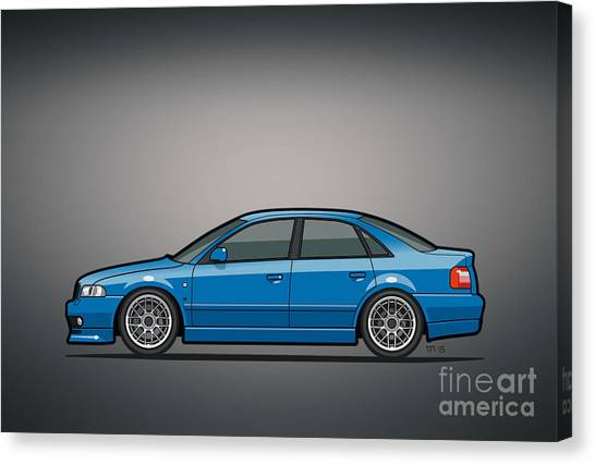 Stock Cars Canvas Print - Audi A4 Quattro B5 Type 8d Sedan Nogaro Blue by Monkey Crisis On Mars