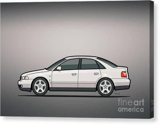 Stock Cars Canvas Print - Audi A4 Quattro B5 Type 8d Sedan White by Monkey Crisis On Mars