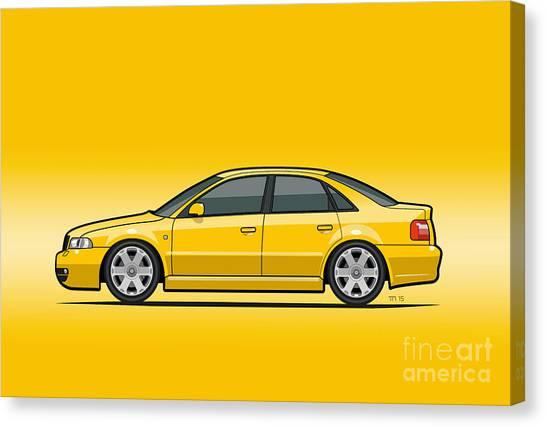 Stock Cars Canvas Print - Audi A4 S4 Quattro B5 Type 8d Sedan Imola Yellow by Monkey Crisis On Mars