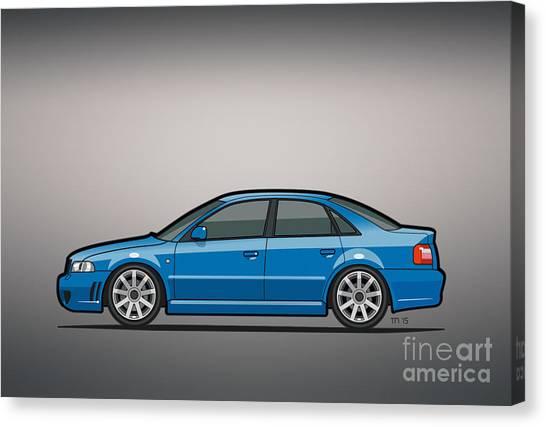 Stock Cars Canvas Print - Audi A4 S4 Quattro B5 Type 8d Sedan Nogaro Blue by Monkey Crisis On Mars