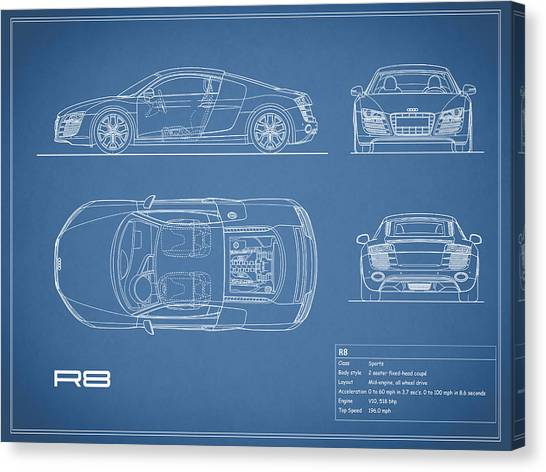 Audi Canvas Print - Audi R8 Blueprint by Mark Rogan