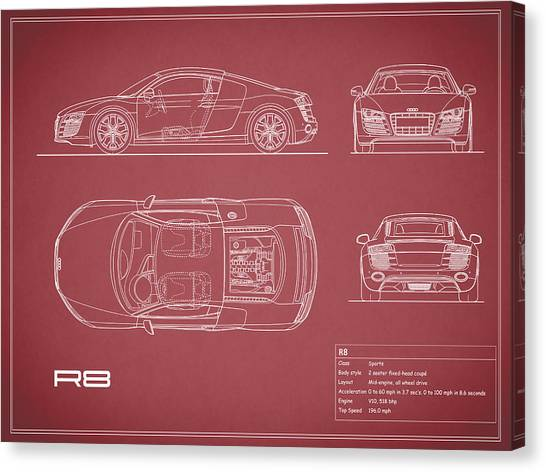 Audi Canvas Print - Audi R8 Blueprint - Red by Mark Rogan