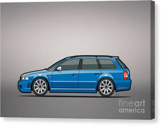 Planet Canvas Print - Audi Rs4 A4 Avant Quattro B5 Type 8d Wagon Nogaro Blue by Monkey Crisis On Mars