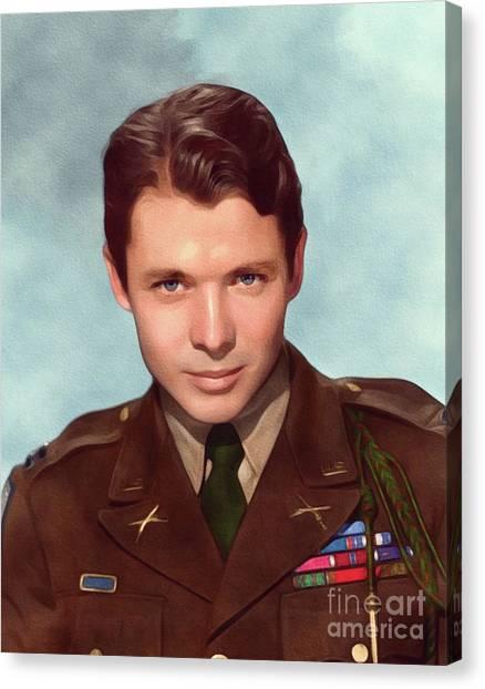 Stardom Canvas Print - Audie Murphy, Vintage Actor And War Hero by John Springfield