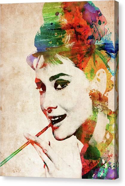 Audrey Hepburn Colorful Portrait Canvas Print