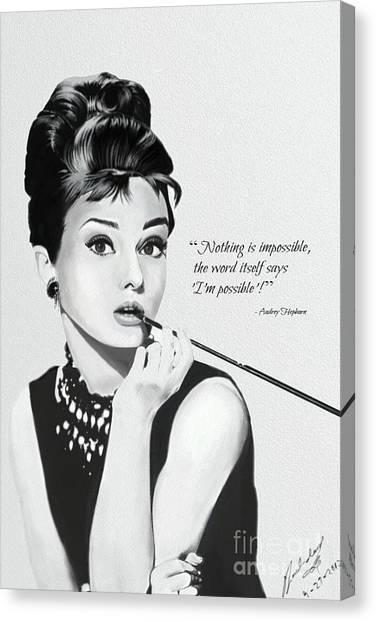 Fashion Canvas Print - Audrey Hepburn by Fairy L