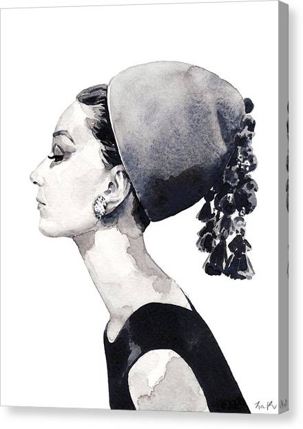 Audrey Hepburn Canvas Print - Audrey Hepburn For Vogue 1964 Couture by Laura Row