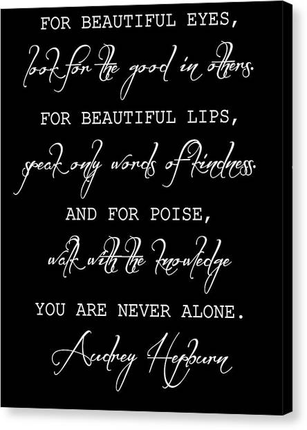Hepburn Canvas Print - Audrey Hepburn Inspirational Quote by Dan Sproul