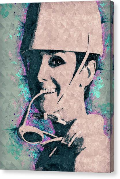 Hepburn Canvas Print - Audrey Hepburn Portrait by Studio Grafiikka