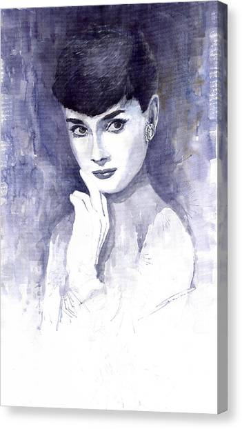 Actors Canvas Print - Audrey Hepburn  by Yuriy Shevchuk