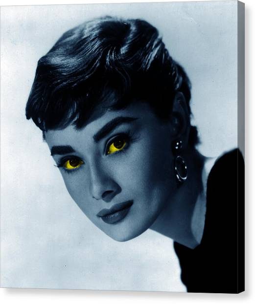 Audrey Hepburn Canvas Print - Audrey In Blue by Emme Pons