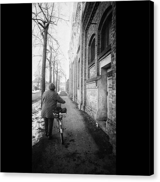 Bicycle Canvas Print - Auf Dem Heimweg  #weg #backsteinmauer by Mandy Tabatt
