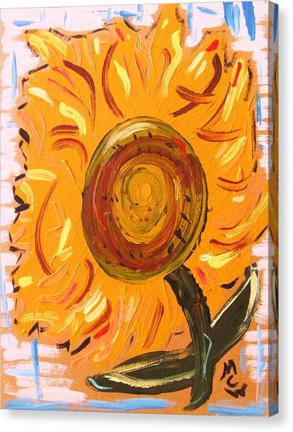 August 7 Late Day Sunflower Canvas Print by Mary Carol Williams