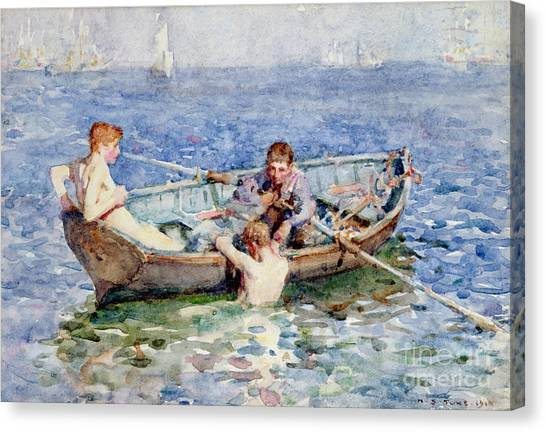 Dinghy Canvas Print - August Blue by Henry Scott Tuke