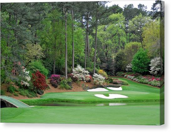 Arnold Palmer Canvas Print - Augusta 12th Hole At The Master by Peter Nowell