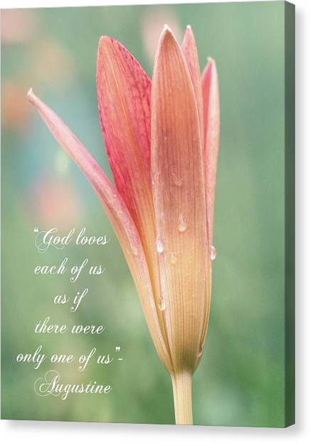 Augustine Quote God Loves Each Of Us With Opening Lily Canvas Print