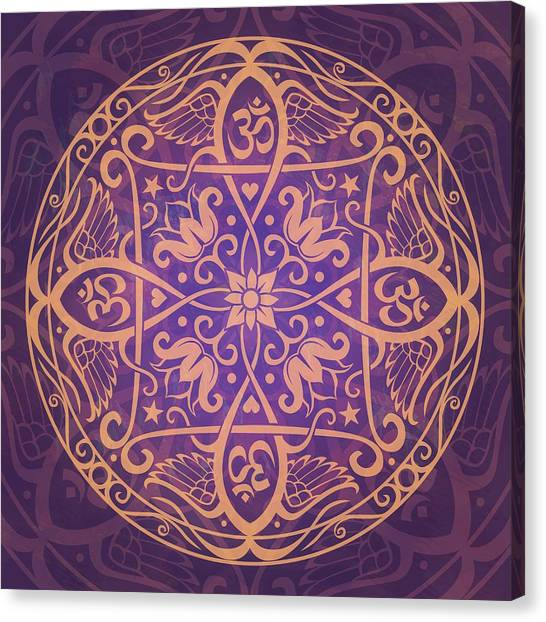 Purple Canvas Print - Aum Awakening Mandala by Cristina McAllister