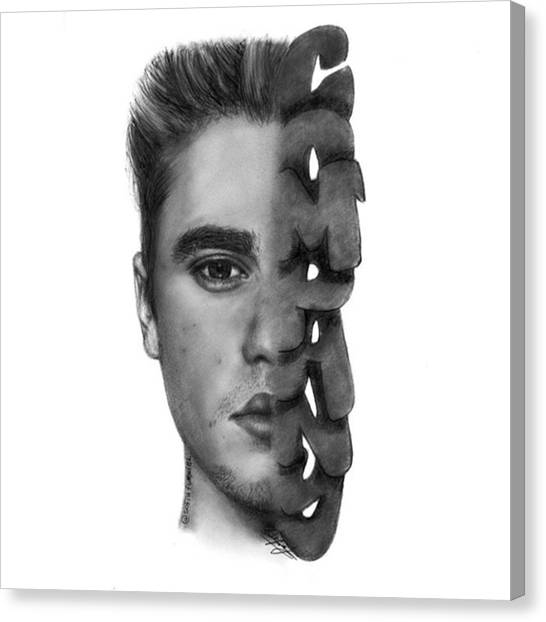 Canvas Print - Justin Bieber Drawing By Sofia Furniel by Jul V