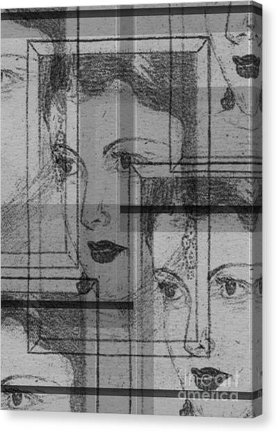 Aunt Edie Black And White Print Canvas Print