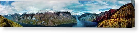 Aurlandsfjorden Panorama Revisited Canvas Print