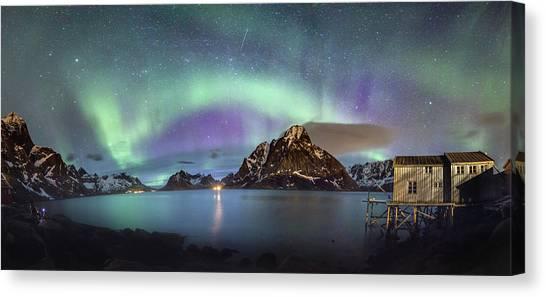 Aurora Above Reinefjord Canvas Print