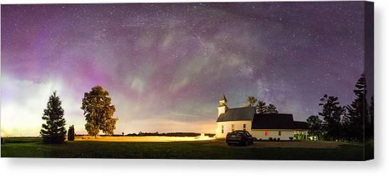 Aurora And Milky Way  Canvas Print by Lorraine Matti
