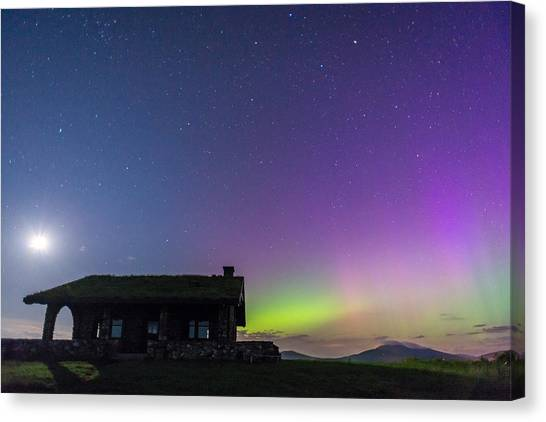 Aurora And Moon From Beech Hill Canvas Print by Tim Sullivan