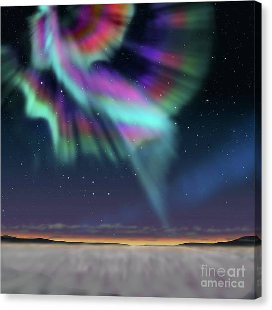 Mountain View Canvas Print - Aurora At Dawn by Atiketta Sangasaeng