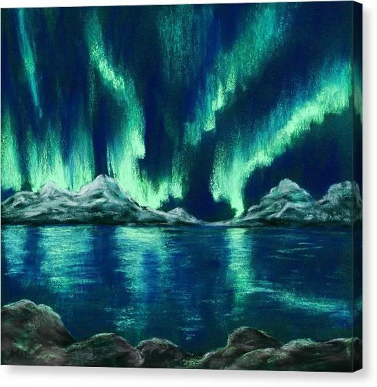 Canvas Print featuring the painting Aurora Borealis by Anastasiya Malakhova