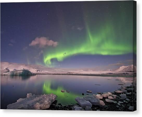 Aurora Borealis And Reflection #2 Canvas Print