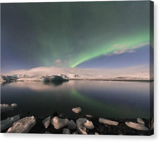 Aurora Borealis And Reflection Canvas Print