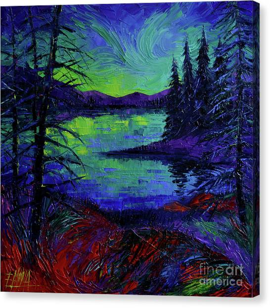 Dreamscape Canvas Print - Aurora Borealis Dreamscape Modern Impressionist Palette Knife Oil Painting by Mona Edulesco