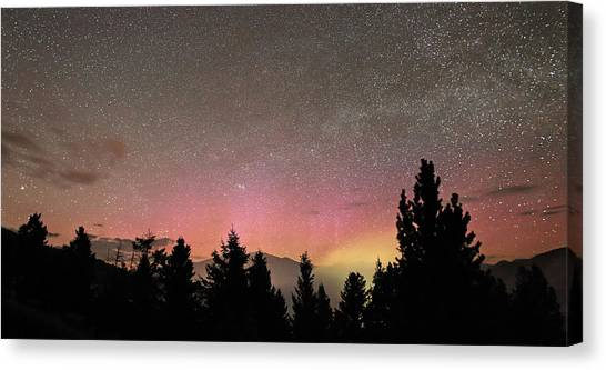Aurora Borealis Over Mammoth Hot Springs In Yellowstone Np Canvas Print by Jean Clark
