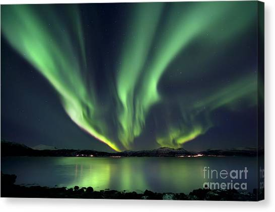 Night Lights Canvas Print - Aurora Borealis Over Tjeldsundet by Arild Heitmann