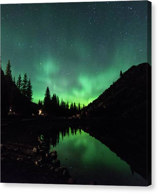 Aurora On Moraine Lake Canvas Print