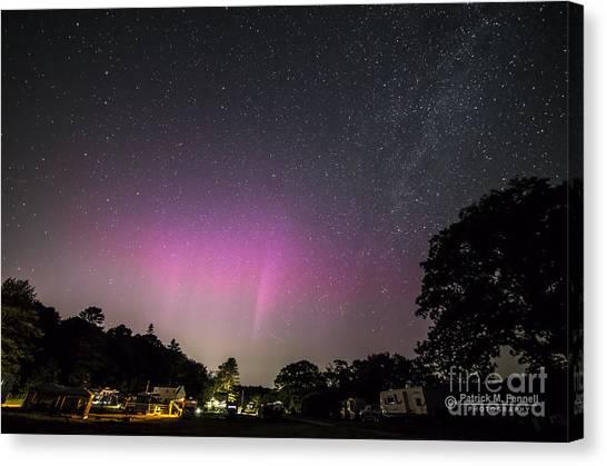 Aurora Over Sagadahoc Bay Campground Canvas Print