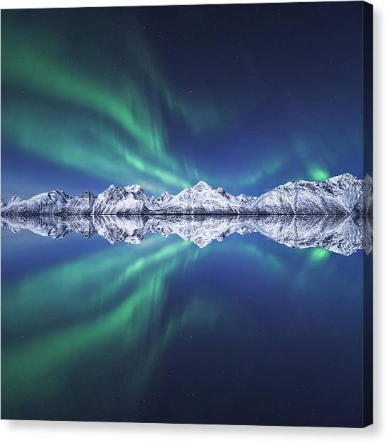 Night Lights Canvas Print - Aurora Square by Tor-Ivar Naess