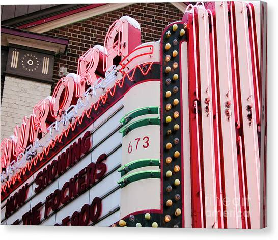 Aurora Theater Marquee Canvas Print
