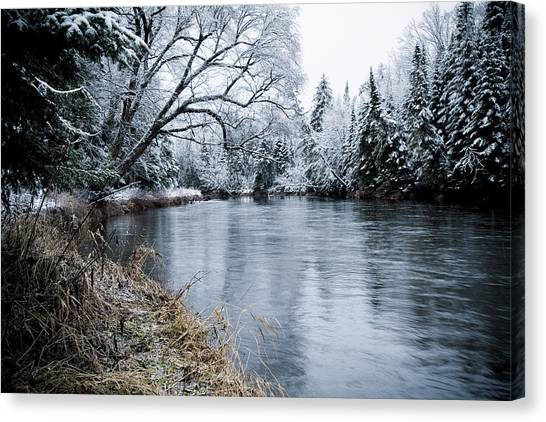 Ausable Winter Canvas Print by Todd Bissonette