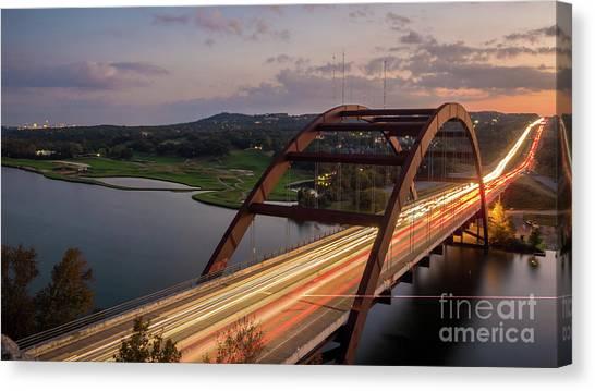 Austin 360 Bridge At Night Canvas Print