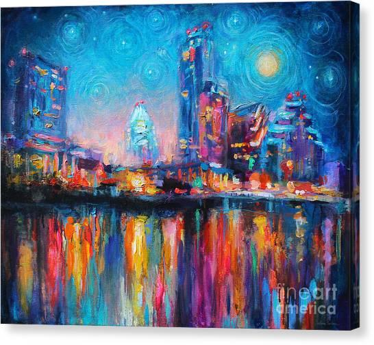 Texas A Canvas Print - Austin Art Impressionistic Skyline Painting #2 by Svetlana Novikova