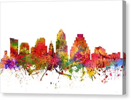 Austin Skyline Canvas Print - Austin Cityscape 08 by Aged Pixel