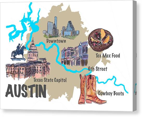 Sightseeing Canvas Print - Austin Favorite Map With Touristic Top Ten Highlights by M Bleichner