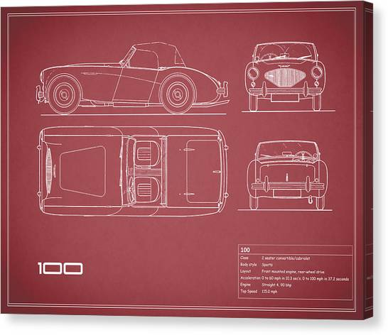 Car blueprint canvas prints page 2 of 25 pixels car blueprint canvas print austin healey 100 blueprint red by mark rogan malvernweather Gallery